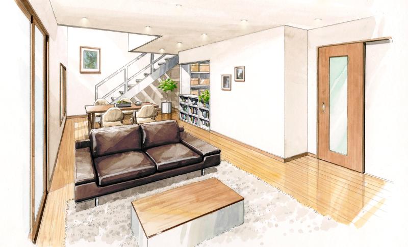 50歳を過ぎてから考える安心の家、ドローイングによるイメージ