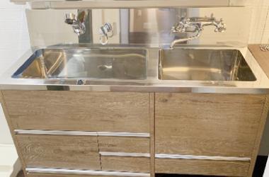 大型リフォーム、2層シンクの洗面台